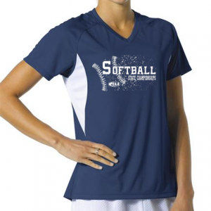 Softball Ladies A4 Navy Blue Wicking Shirt